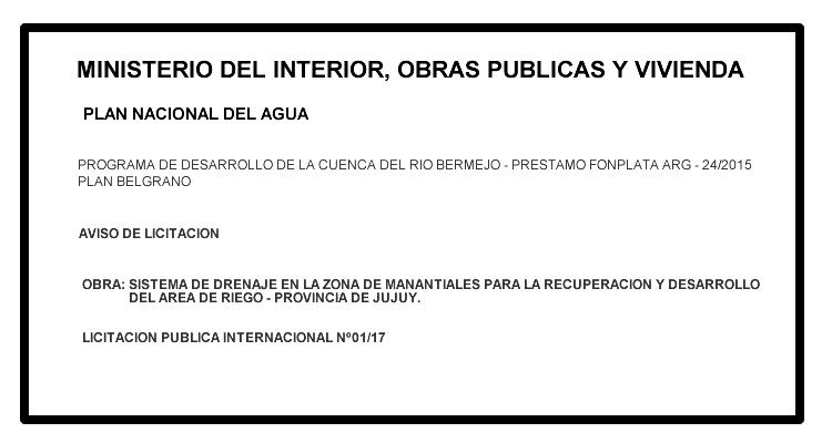 AVISO LICITACION PUBLICA INTERNACIONAL PROYECTO MANANTIALES (JULUY)